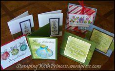 An assortment of homemade christmas cards