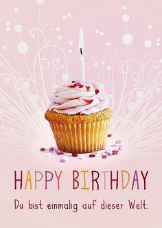 Postkarte - Happy Birthday (rosa)