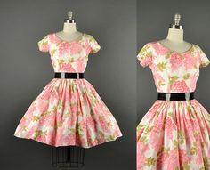 1950s pink floral dress / full skirt dress / Lucinda of California designer dress / 50s Dress / party dress