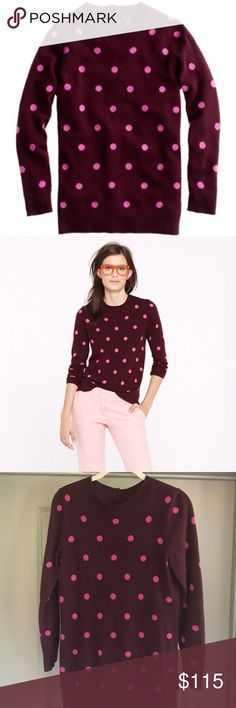 J. Crew Collection Cashmere Polka-Dot Sweater 💕💜 Product description: Not only do we insist on using the best yarn out there, but we work hand in hand with a centuries-old Italian mill to ensure that each shade has just the right depth, saturation and brightness). Every piece is carefully designed to become a forever favorite, like this long and lean crewneck.  Italian cashmere in a 12-gauge knit. Button at back neck. Bracelet sleeves. Rib trim at neck, cuffs and hem. Hits below hip. Hand…