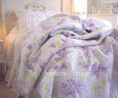 shabby lavender cottage lilacs aqua blue chic bedding - Liliac Bedding