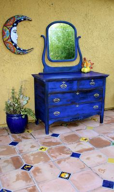 GO BOLD, Or Go Home! Amazing Refinish In Ultramarine Milk Paint. :is It  Time To Repaint That Dresser?
