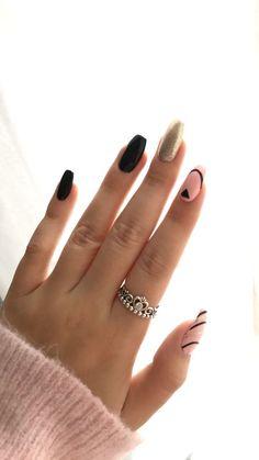 simple nail art designs | black white | silver glitter | coffin | acrylic | gel polish | strip