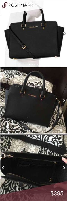 Authentic Large Black Michael Kors Selma Bag Gorgeous bag! Have some white marks on exterior but overall good condition! Used for a month and now just sitting in my closet. No plans on using anymore.  This bag is 100% AUTHENTIC Michael Kors. The LARGE BLACK SELMA bag is NO LONGER SOLD IN STORES!  PLEASE ASK QUESTIONS BEFORE PURCHASING!! If you don't ask a question before purchasing an item, I am not responsible. OPEN TO OFFERS - Cheaper on my other sites I sell on or 🅿️🅿️ PRICED AT $395.00…