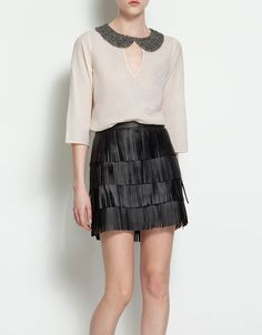 BLOUSE WITH BEADED PETER PAN COLLAR - Shirts - Woman - ZARA United States