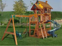 wooden-playground - none of the commercial ones fit our needs or space, but they were a great source of ideas. Look at several manufacturers - both ready built and diy kit versions - to decide what is important to you. A MODULAR system and long term game plan, lets you create an affordable system that grows with your kid.