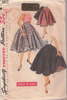 MOMSPatterns Vintage Sewing Patterns - Simplicity 3813 Vintage 50's Sewing Pattern DIVINE Simple to Make Rockabilly Hairspray Billowing CIrcle Skirt, Crinoline Slip Petticoat