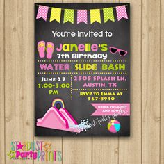Water Slide Invitation Birthday By StardustPartyPrints