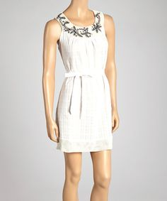 Farinelli White Yoke Neck Sleeveless Dress by Farinelli #zulily #zulilyfinds