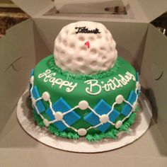 Golf cake. Golf ball is a rice crispy treat covered in fondant. Very easy and fun!