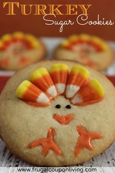 Turkey Sugar Cookie Recipe on Frugal Coupon Living - This and other Thanksgiving kids food crafts featured on Rachel Ray. Great way to reuse your Halloween Candy.