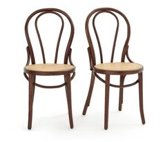 BISTRO Set of 2 Beech and Cane Chairs LA REDOUTE INTERIEURS .Classic style and beautiful curves – these gorgeous chairs are made using the traditional technique of hot-bent wood. How To Bend Wood, Wooden Armchair, Home Furnishing Accessories, Bentwood Chairs, Bent Wood, Bistro Chairs, Contemporary Classic, Bistro Set, Foot Pads