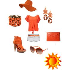 OrangE :), created by klaudejszyn on Polyvore featuring the Stella & Dot - Capri Chandelier Earrings in Coral