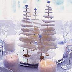Festive yarn tree centerpieces