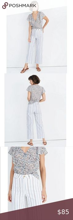 """MADEWELL High Rise Slim Emmett Wide Leg Cr… MADEWELL High Rise Slim Emmett Wide- Leg Crop Pants   A Newly slimmed down but not too slimmed down version of our best selling wide leg pants. Specially engineered for an A+ rearview( the secret is in the way we fit the high waist). This is the pair you'll want to wear every single day.  Size: 30 Zip Fly Light Stretch Color: Montpellier Stripe Waist: Approx 16.5"""" Hips: Approx 20.5"""" Rise: 12.5"""" Leg opening Approx 10.5 99% Cotton 1% Elastane… Plus Fashion, Fashion Tips, Fashion Design, Fashion Trends, Wide Leg Cropped Pants, How To Slim Down, Madewell, Pants For Women, Short Sleeve Dresses"""