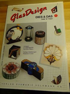 """Glass Design """"This N That"""" boxes, mirror, mobile, stained glass pattern book  #Germany"""