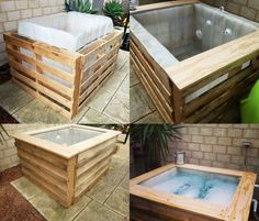 DIY Homemade hot tub made from wood crates and a plastic liquid container!