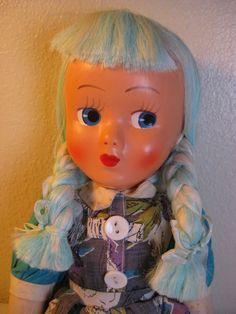 Vintage 1940's Doll- Blue Hair Braids- Cloth Body- All Original Clothes