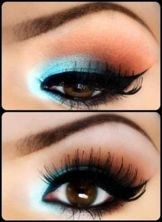 Fun eye make-up for blue eyes. The blue from the eye shadow will clash with your brown eyes causing them to pop. Another idea is to use a blue eyeliner instead of the blue eyeshadow for a more wearable day time look. Pretty Makeup, Love Makeup, Makeup Tips, Makeup Looks, Makeup Ideas, Makeup Tutorials, Perfect Makeup, Makeup Style, Makeup Trends