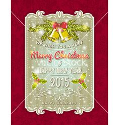 Christmas card with decorative ornament vector by sunnyfrog on VectorStock®