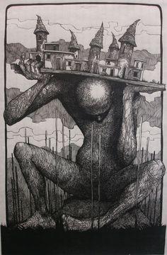 linocut by Dimitris Karlaftopoulos