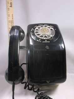Rare Mid Century 60 s Black Automatic Electric Rotary Wall Phone / Side Mount Receiver - Model 90 Not Tested epsteam