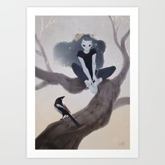 Ghost and magpie Art Print