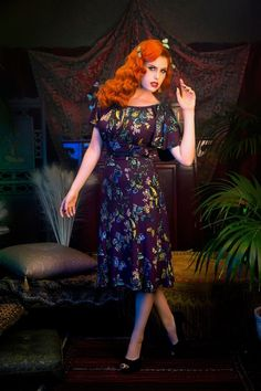Pinup Couture ~ 40s Butterfly Moth Dress in Purple