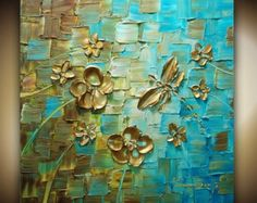 ORIGINAL Resumen textura gruesa flores arte por ModernHouseArt