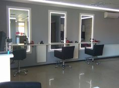 Salon Amarant. Isadora styling chairs. Salon Ideas from Ayala salon furniture. Modern salon design.