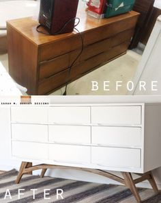 Adding Legs to a Mid Century Modern Dresser - an amazing furniture transformation Refurbished Furniture, Repurposed Furniture, Furniture Makeover, Painted Furniture, Dresser Makeovers, Mid Century Modern Dresser, Mid Century Modern Furniture, Furniture Projects, Furniture Design
