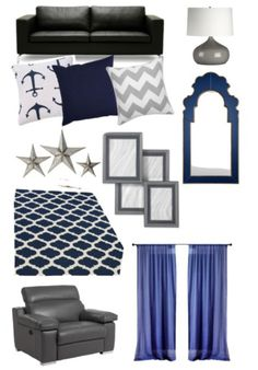Navy Blue and Grey color scheme... minus the furniture pieces and with a pop of another color... red tones maybe