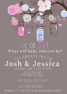 Hanging Jars Gender Reveal Party Invitation Jars by Gender Reveal Party Invitations, Baby Gender Reveal Party, Gender Party, Hanging Jars, Baby On The Way, Reveal Parties, Baby Party, Holidays And Events, Party Planning