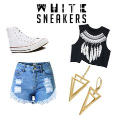 """""""Untitled #7"""" by hannahjowilson ❤ liked on Polyvore featuring Converse, Topshop and WithChic"""