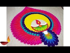 Very Easy and colourful Diwali special Rangoli Designs 2018 Easy Rangoli Designs Videos, Easy Rangoli Designs Diwali, Indian Rangoli Designs, Rangoli Designs Latest, Simple Rangoli Designs Images, Rangoli Designs Flower, Rangoli Border Designs, Rangoli Patterns, Colorful Rangoli Designs