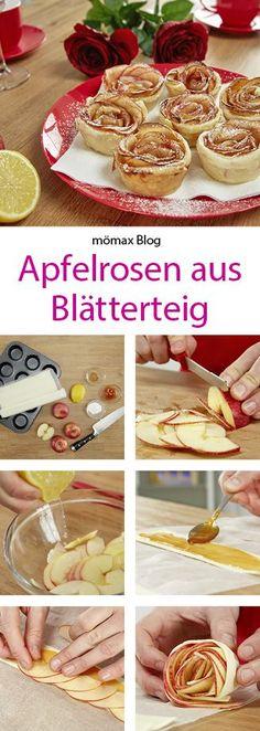 Apfelrosen mit Blätterteig ca. 3 rote Äpfel 3 EL feine Marillenmarmelade Zimt Zitrone  Aufrollen und ins  Muffinblech  30min bei 150 Grad