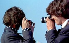 RINGO STARR AND GEORGE HARRISON TAKING EACH OTHERS PICTURE...
