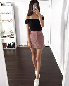 Skirt outfits aesthetic New ideas Tumblr Outfits, Mode Outfits, Korean Outfits, Outfits For Teens, Trendy Outfits, Cute Outfits For Parties, Cute Outfits With Skirts, Pink Skirt Outfits, Basic Outfits