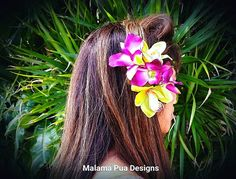 *NEW* for Summer 2016! Very rare Green Cymbidium Real Touch Hawaiian Orchid. Purple Fuchsia Dendrobium Orchids - a Malama Private Collection piece. Think of how beautiful for a Hawaiian or Tropical Wedding, a wedding on the beach, Prom, Cruise, etc. Absolutely real looking and perfect detail. These custom flower headpieces are each individually designed and hand assembled and may have slight differences due to their uniqueness. Approx 4-5 inches. Clip is easy to place in the hair and secu...