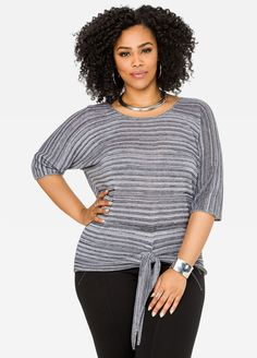 Tie Front Heathered Sweater