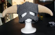 My next project, perfect for my gamer grown-up son who is a manager with XBox custommer support!    CROCHET PATTERN PDF for Skyrim Inspired Viking helmet.