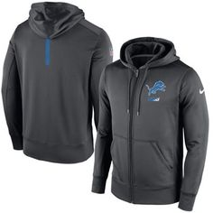 42986239b8c Men s Nike Charcoal Detroit Lions Sideline Full-Zip Performance Hoodie