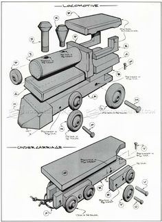 #1641 Wooden Toy Train Plans - Children's Wooden Toy Plans and Projects                                                                                                                                                                                 More