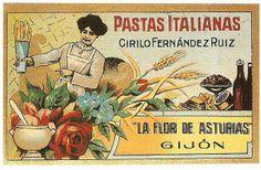 Antigua publicidad de LA FLOR DE ASTURIAS, fábrica de pastas italianas que tenía Cirilo Fernández Ruiz en Gijón