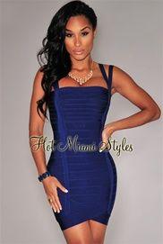 Navy-Blue Double Straps Arched Bandage Dress