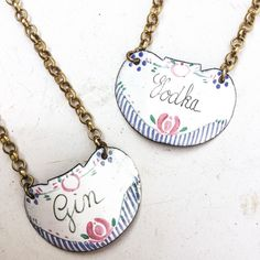 Vintage enamel liquor tag necklace ❤️