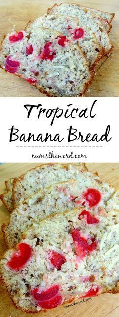 Tropical Banana Bread - Dreaming of a vacation? Try this easy (and vegan friendly) Tropical Banana Bread! Bananas, Coconut & Maraschino cherries all packed into a tasty loaf! Cherry Bread, Cherry Muffins, Brunch Recipes, Breakfast Recipes, Dessert Recipes, Desserts, Quick Bread Recipes, Cooking Recipes, Coconut Banana Bread