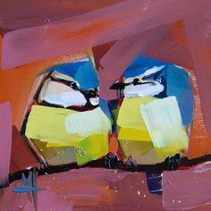 Two Blue Titbirds original bird oil painting by Angela Moulton prattcreekart