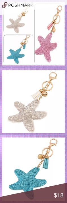 """Crystal Starfish Keychain/Fob-PICK A COLOR GORGEOUS Crystal Starfish Keychain/Fob, Felt Backs, Leather Tassel, Gold Hardware & Gold Dangling Decorative Ball. Use as a keychain, hang on your purse for shimmering decoration, etc. Approx. 6.7"""" Long, Available in PINK, WHITE OR BLUE Boutique Accessories Key & Card Holders"""