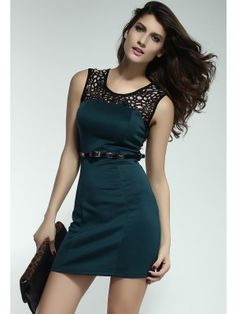 Minimalist Lacy Neck Short Dress Green  $20.99 http://www.sensationofnight.com/minimalist-lacy-neck-short-dress-green-2911-3.html